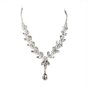 Prom Silver rhinestone Necklace and earring Set